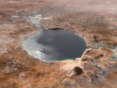 Ilustrasi ini menunjukkan Kawah Jezero - tempat pendaratan Mars 2020 Perseverance rover - seperti yang terlihat miliaran tahun yang lalu di Mars, ketika itu adalah sebuah danau. (Credit: NASA/JPL-Caltech)