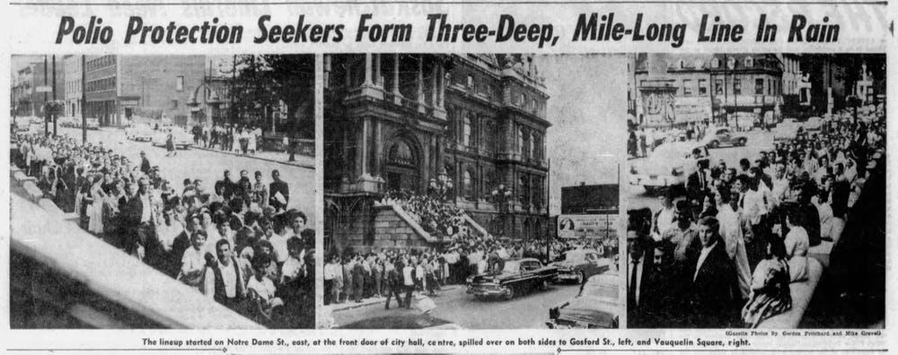 Atas: Gambar utama yang menunjukkan antrean orang-orang yang menunggu untuk mendapatkan vaksin Salk. 'The Montreal Gazette,' 11 Agustus 1959.