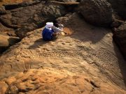 Ukiran jerapah Sahara Kuno